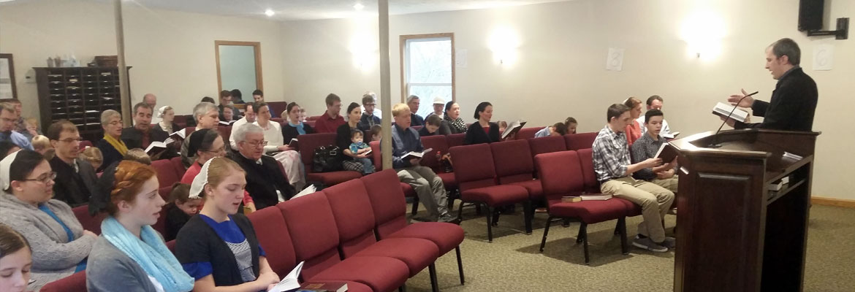 Geryll leads congregational singing
